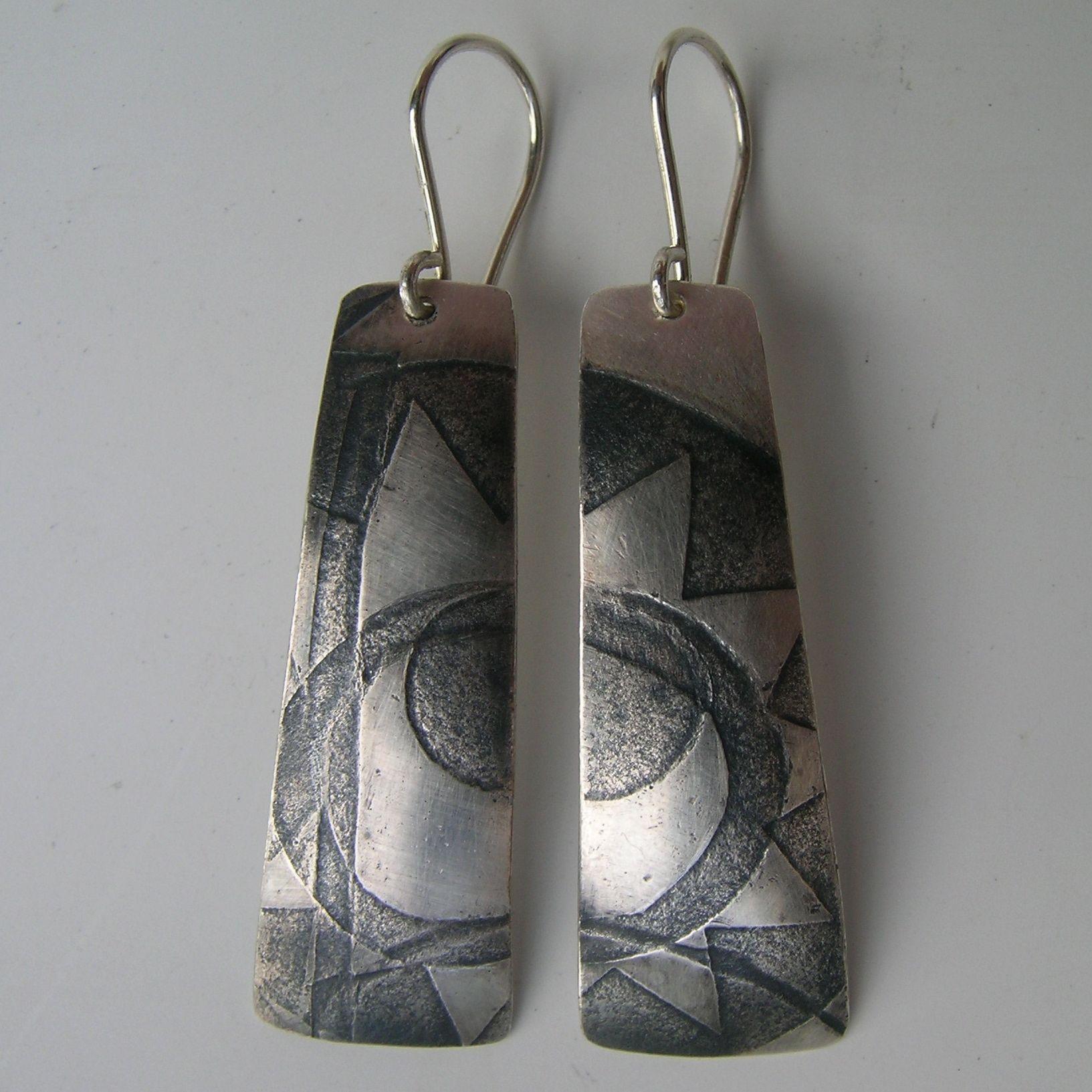 Block Print drop earrings | Contemporary Earrings by contemporary jewellery designer Jessica Briggs
