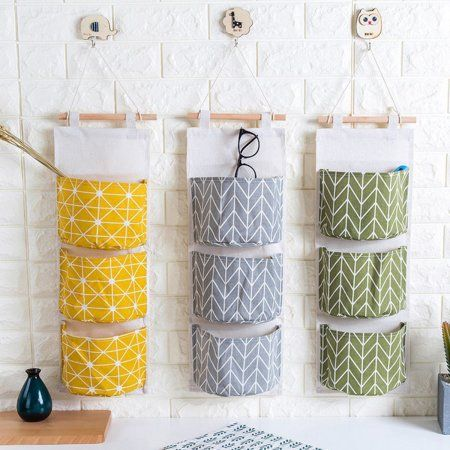 3 Grids Wall Hanging Storage Bag Organizer Toys Container Decor