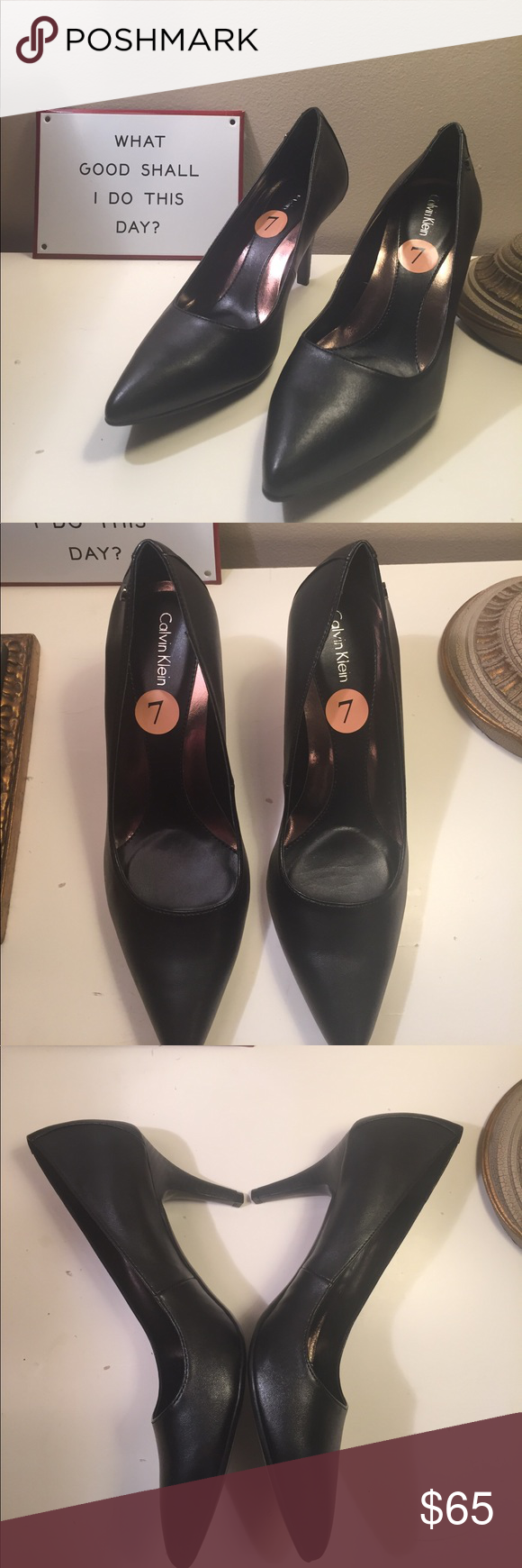 d0f516433c6 New Calvin Klein Brady Leather Pointed Toe Pump Calvin Klein Brady Leather  Pointed Toe Pump -