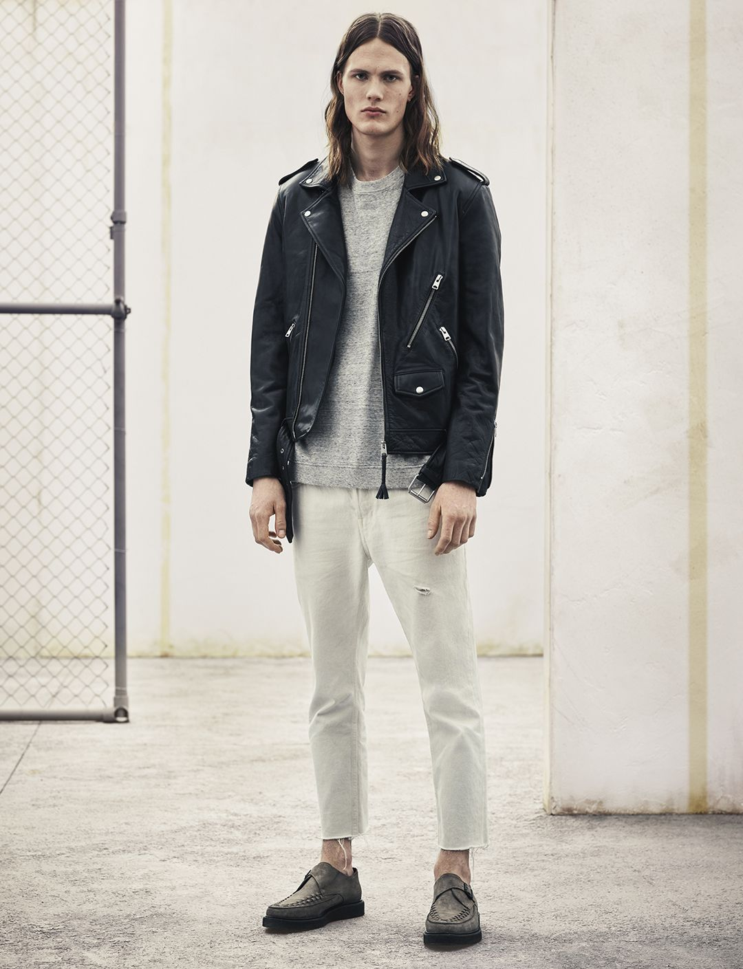 AllSaints Men's April Lookbook Look 1: Brivio Biker, Etrain Ls Crew, Armstrong Pistol, Arc Shoe