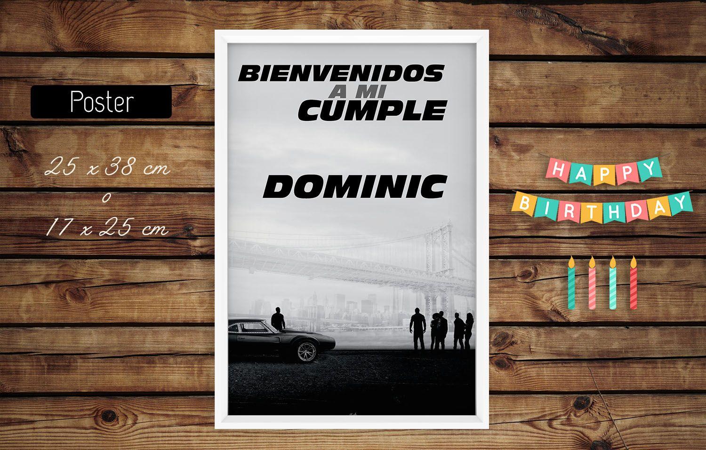 Poster Cartel Bienvenida Cumple Rapidoyfurioso Laroca