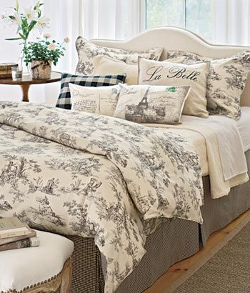 Black And Cream Love Toile De Jouy Bedding Would Be Cute For A