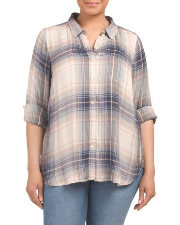 6ef9f0394a56e Plus Bungalow Flannel Shirt - Plus Tops - T.J.Maxx