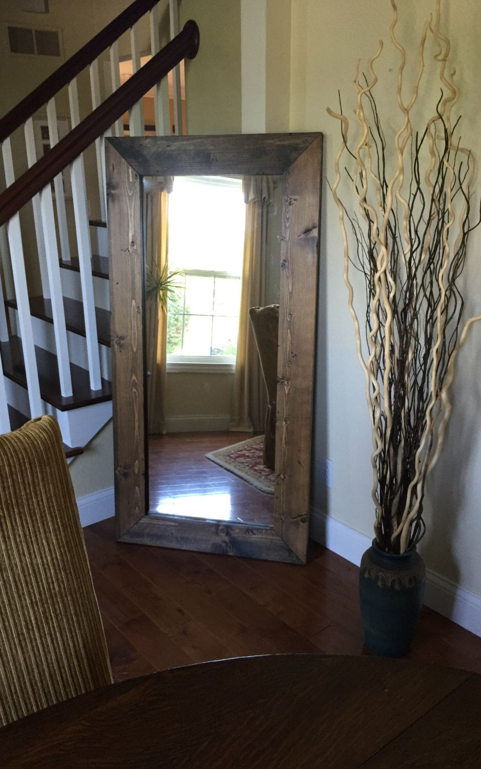 The Lake Cabin Mirror Rustic Floor With Knotty Distressed Wooden Frame