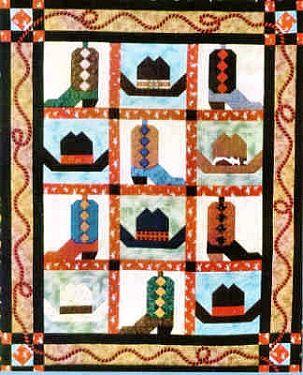 Free Quilt Patterns to Print | Cowboy Boots & Hats Western Quilt ... : cowboy quilt - Adamdwight.com