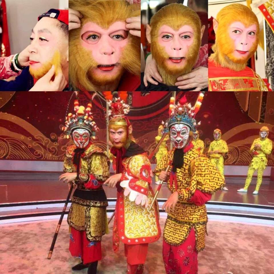 Zhang Jinlai, 57, better known as Liu Xiao Ling Tong, mimics a monkey's facial expressions. Zhang is a fourth-generation monkey opera performer in his family. Most Chinese know him by his stage name, Liu Xiao Ling Tong, but his real name is Zhang Jinlai, 57. He hit TV screens via his 25-episode Journey to the West in 1986 when he played Sun Wukong, or the Monkey King, in the series.
