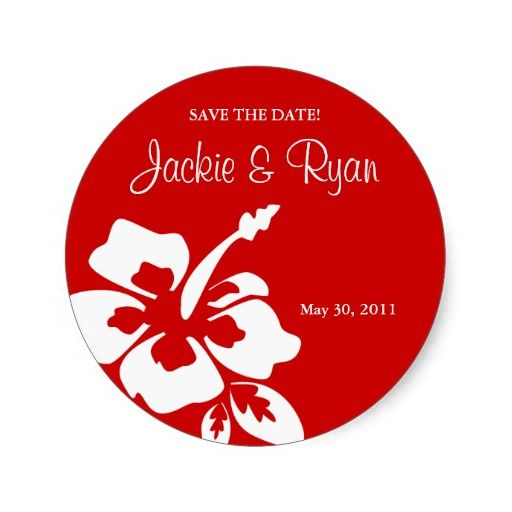f642aea6bd9485 Save the Date Beach Wedding Stickers Hibiscus Red