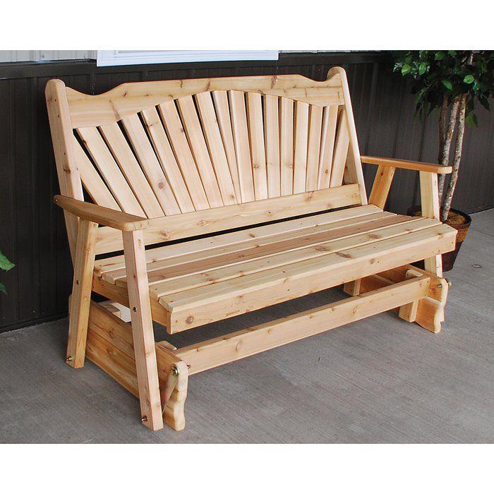 Fanback Glider Bench Outdoor Loveseat Pallet Furniture Outdoor Patio Rocking Chairs