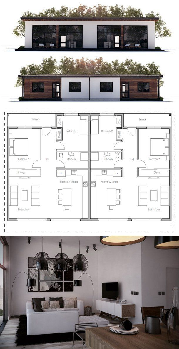 Duplex House Plan Ch265d Duplex House Plans Small House Design Plans Small House Design