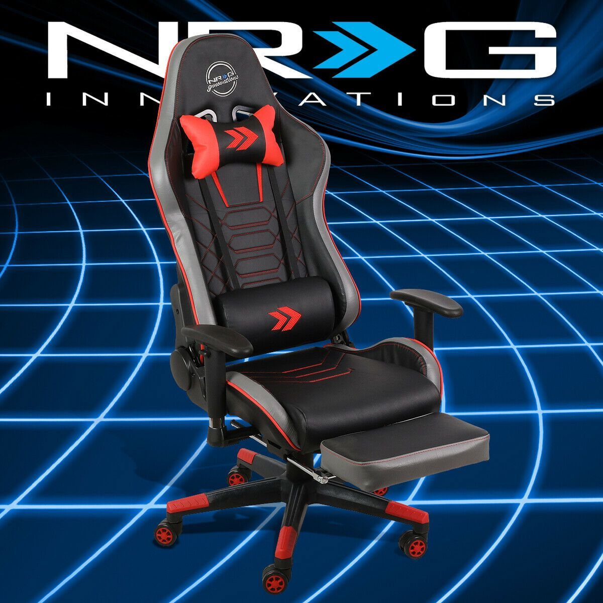 Nrg Performance Vinyl Height Adjustable Racing Office Seat Gaming Chair Red In 2020 Office Seating Gaming Chair Height Adjustable
