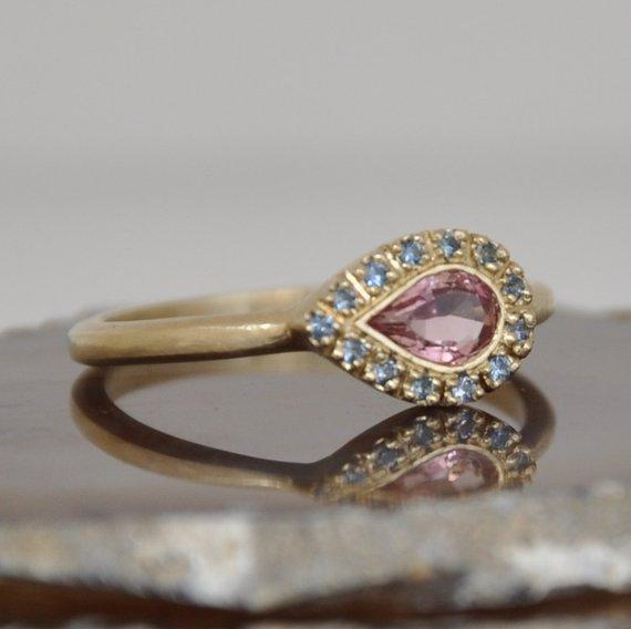 99145b323b Blue Sapphire Ring , Multistone Ring , Solid Gold Ring , Teardrop Sapphire  Ring , Blue Sapphire Mult
