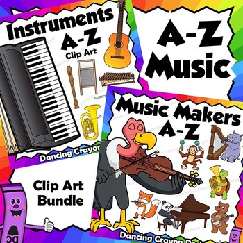 A To Z Animal Musicians And Musical Instrument Clip Art Bundle Musicals Art Bundle Musical Instruments