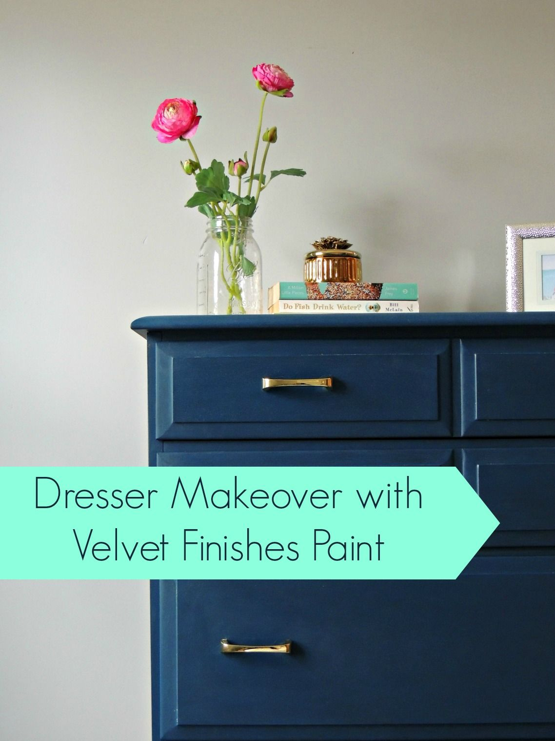 Painting an old dresser using velvet finishes paint | Wife in Progress Navy makes a good change to white...