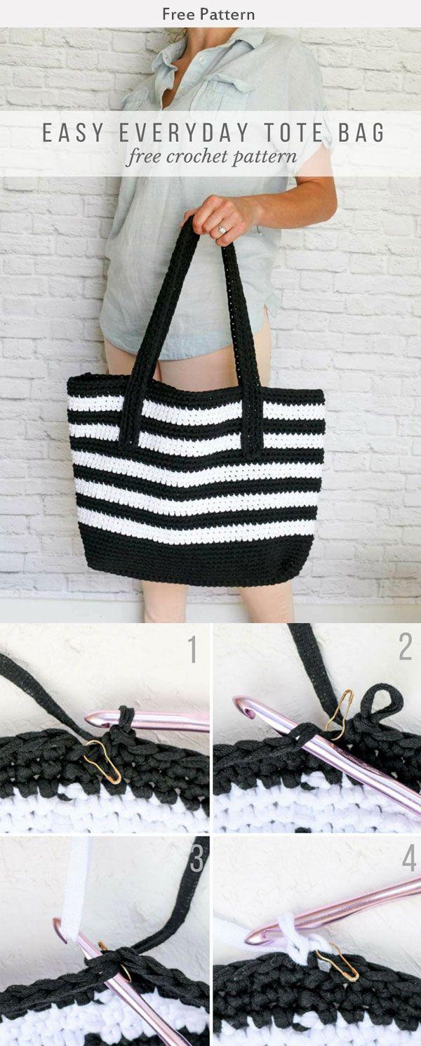 Crochet Easy Tote Bag Free Pattern   bolsos carteras   Pinterest ...
