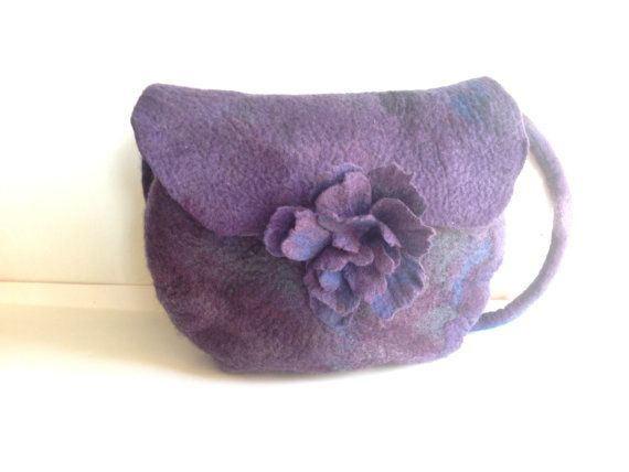 Handbag in Purple Aubergine and Grey. Handmade Felt.  Purple bag Wool, Shoulder  Messenger bag,  felt bag felt flower, Felt flower bag. on Etsy, $47.00