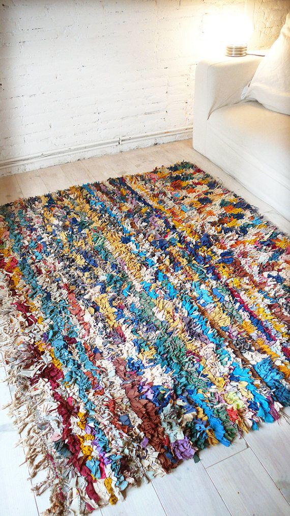 Vintage Moroccan Rag Rug Boucherouite Colors Por