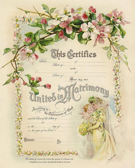 Printable Marriage Certificate  Romantic Diy Wedding  Frances