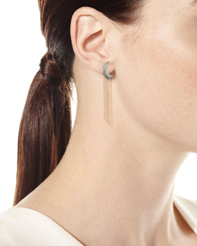 905136920 Siena Lasker Diamond Moon Chain Drop Earrings in 14K Rose Gold ...