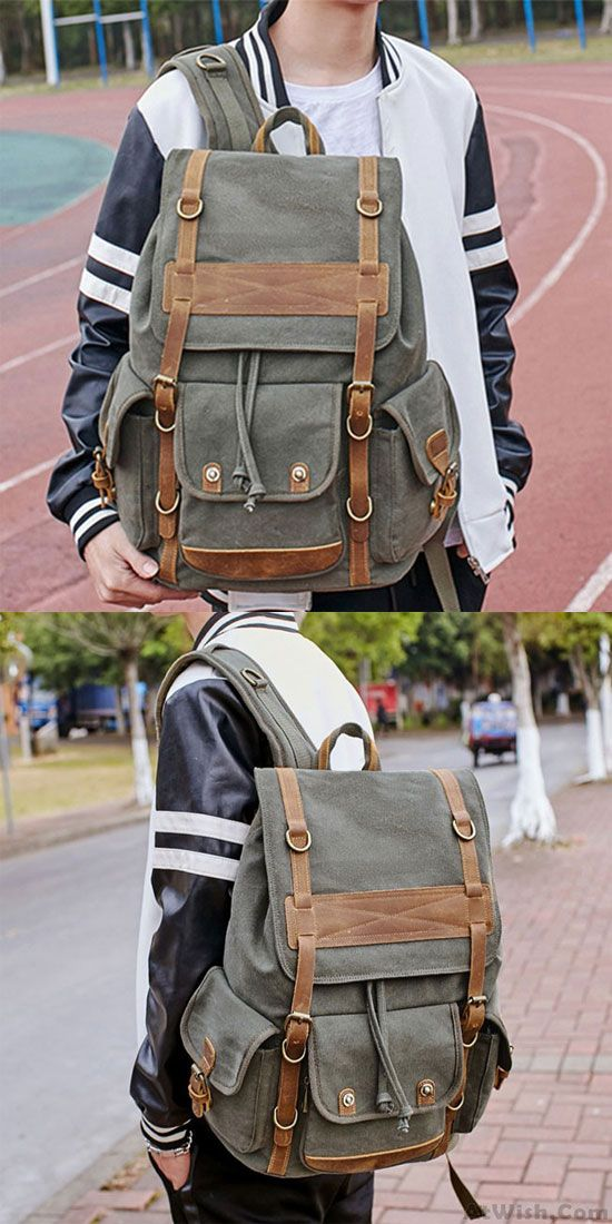 Leisure Travel Large Canvas Backpack Retro Men's Three Pockets Outdoor Rucksack only $43 99 is part of Retro Mens Three Pockets Outdoor Rucksack Large Leisure - How nice Leisure Travel Large Canvas Backpack Retro Men's Three Pockets Outdoor Rucksack  ! I like it ! I want to get it ASAP!