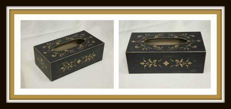 Boîte à mouchoirs noir et or