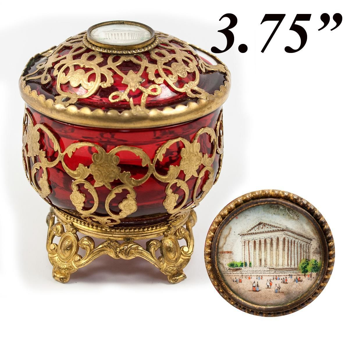 Antique French Cranberry Glass & Ormolu Powder Jar
