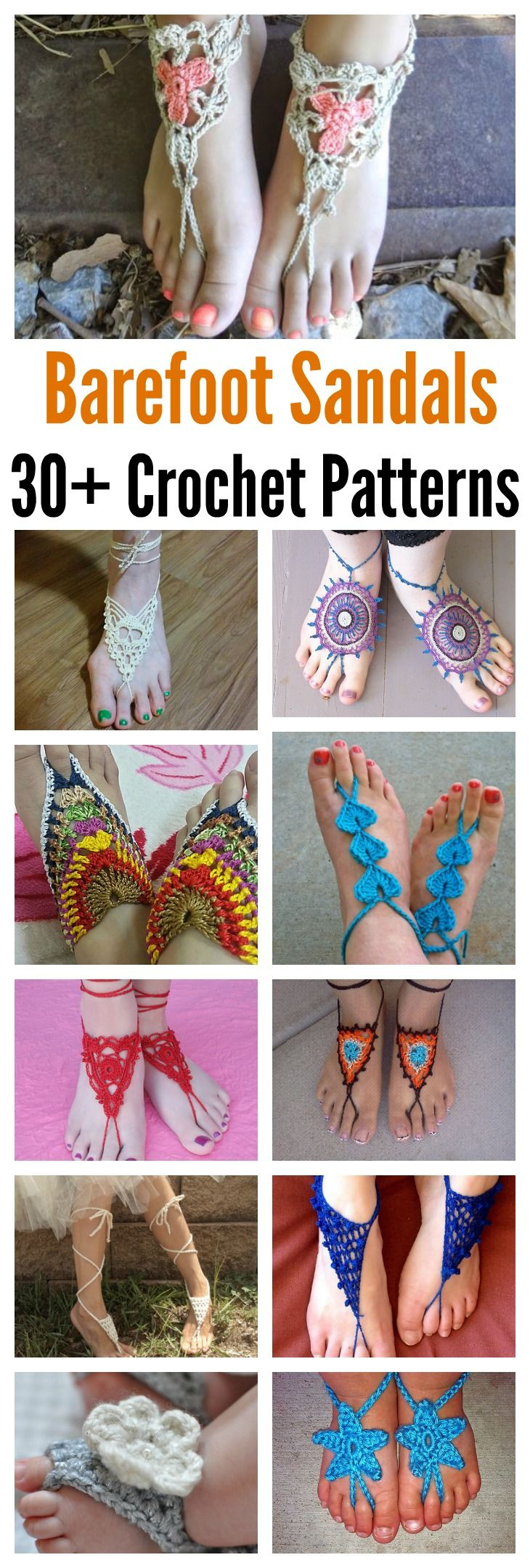 30+ Awesome Crochet Barefoot Sandals Patterns | Sandalias, Tejido y ...