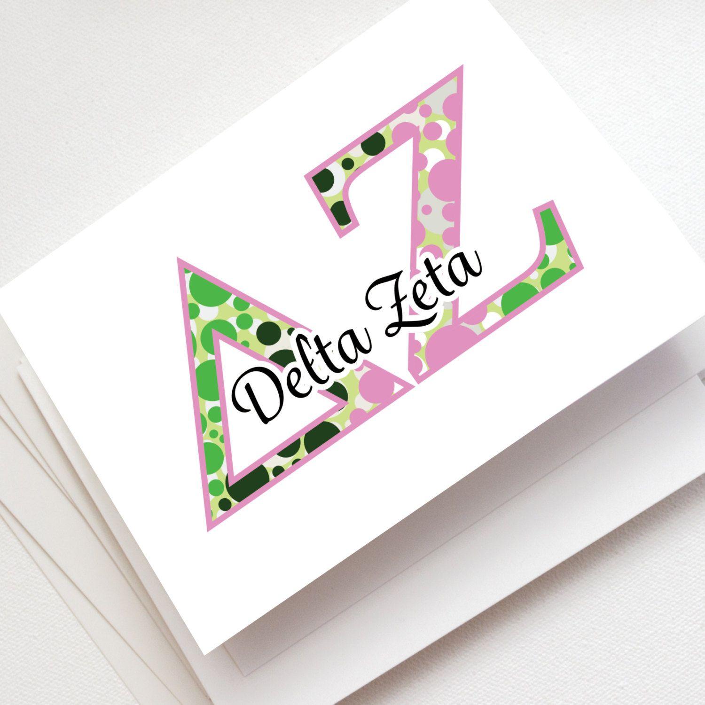 Delta Zeta Note Cards Greek Stationery Blank Inside Greek Letter