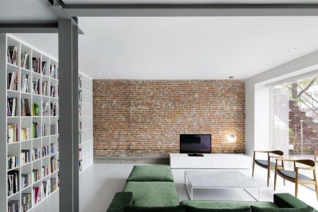 Innenarchitektur Wohnung goneau innenarchitektur backsteinwand wohnzimmer