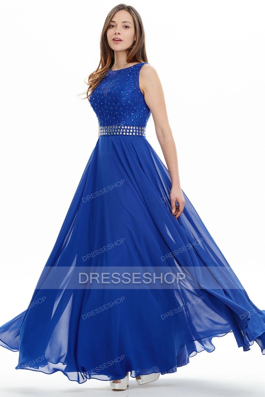 ecce692266fad9 A-line/Princess Floor-length Royal Blue Beaded Formal Evening Dresses -  Formal Dresses - Special Occasion Dresses - Dresshopau.com