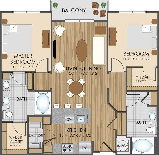Floor Plans Of Hidden Creek Apartments In Gaithersburg, MD 20877 ...