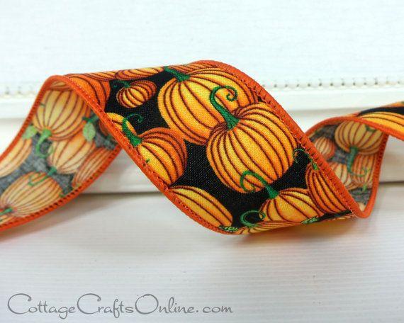 Halloween Ribbon Wired Edge 1 1/2 Orange by CottageCraftsOnline