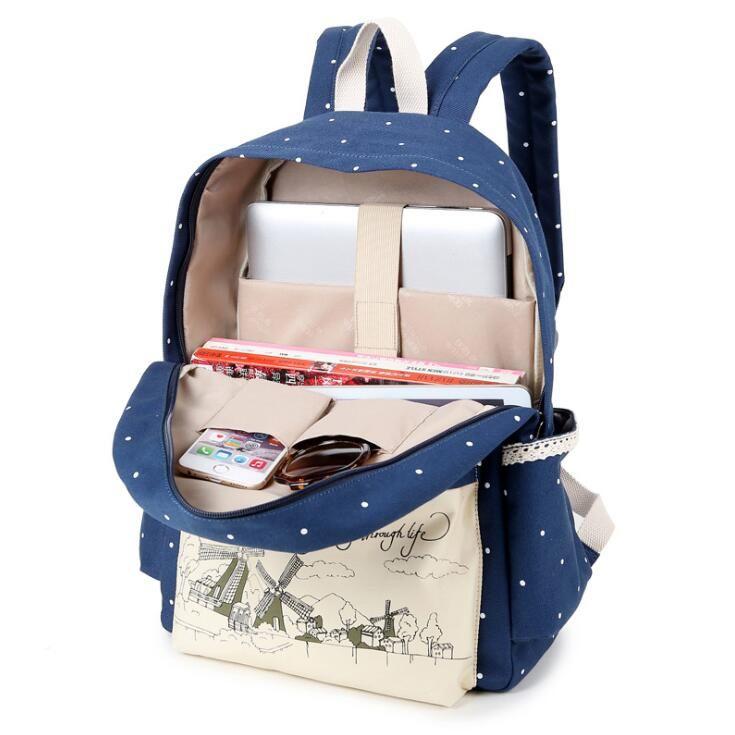 Korean casual women bookbags canvas printing backpack sets cute school bags  backpacks for teenage girls shoulder