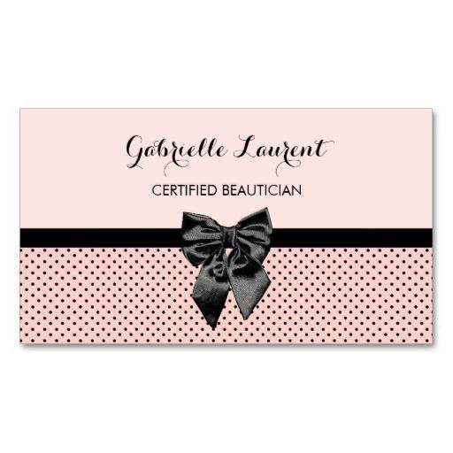 Chic Pale Parisian Pink And Black Polka Dot Hair Beauty Salon Business Cards For The