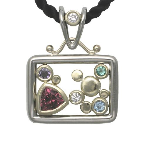 Pink Tourmaline Floating Pebbles Pendant, River Pebbles Collection by Rona Fisher - www.ronafisher.com