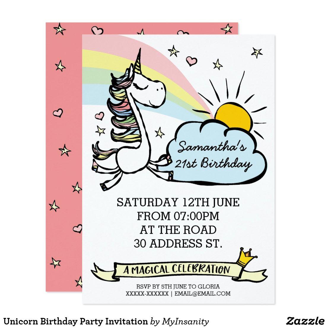 Birthday Party Unicorn Invitation | Birthday Bash! | Pinterest ...