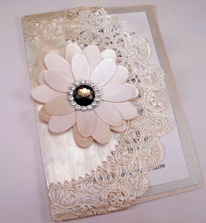 Vintage Couture Wedding Invitation Swarovski Crystal Smokey Jewel ...