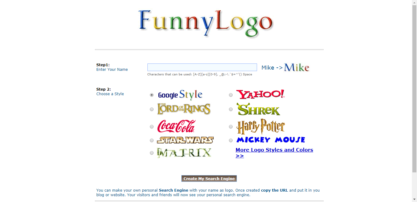 Personal search engines : Logo maker Search engine maker maker