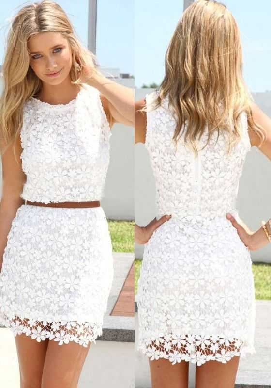 0cabb79612 White Floral Hollow-out Bodycon Hip Short Package Crochet Sleeveless Cute  Casual Homecoming Lace Summer Dress