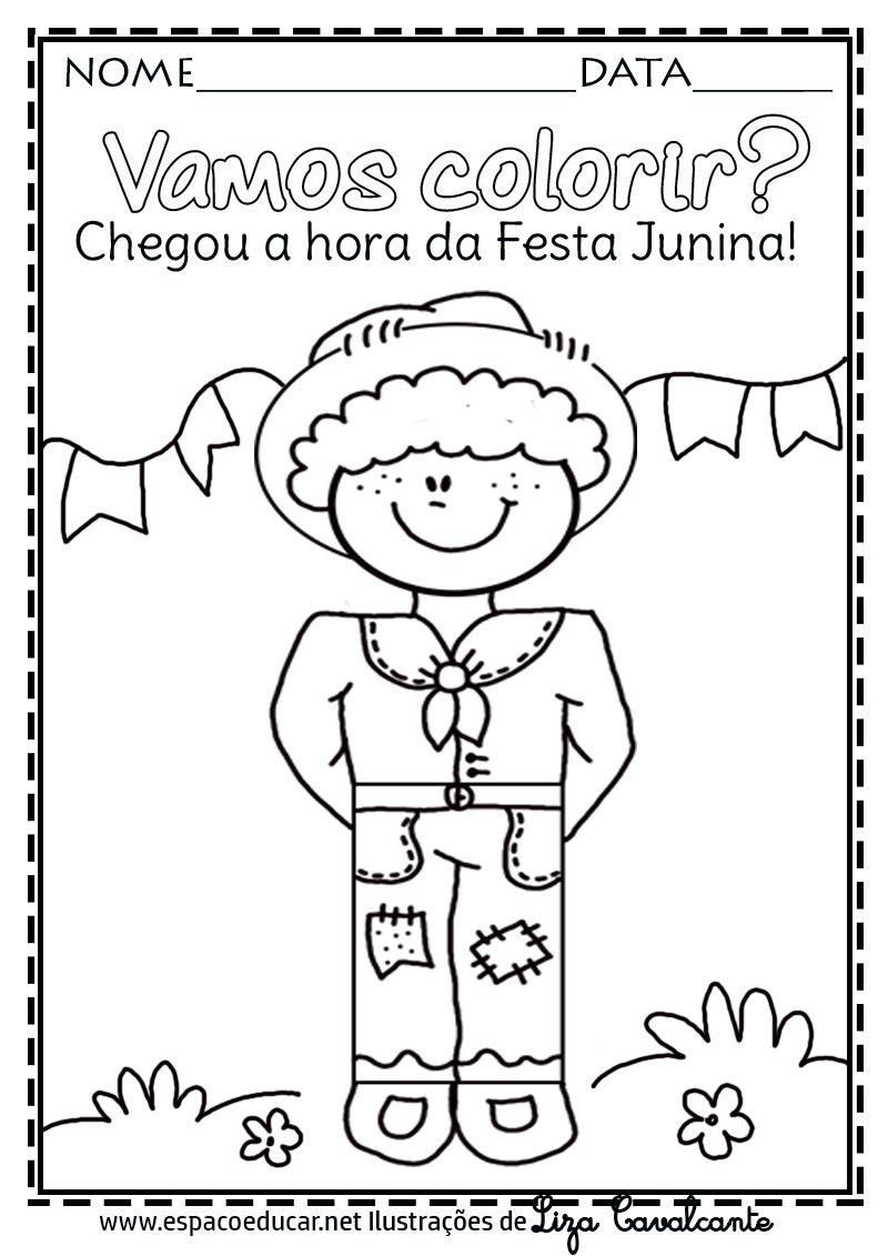 colorir intar menino crian c3 a7a festa junina caipira quadrilha www