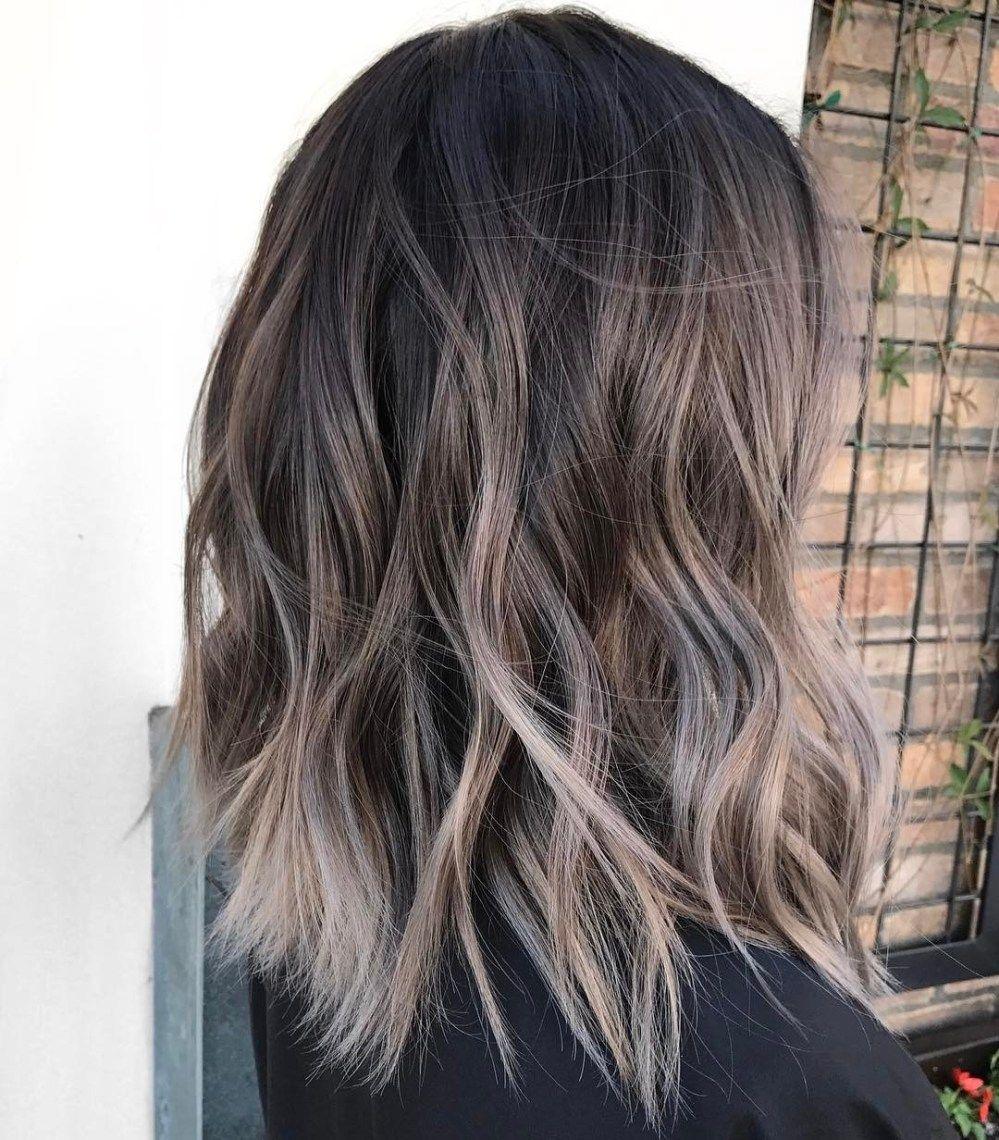 Beautiful Long Dark Brown Hair With Lots Of Cool Tone Ash Blonde Highlighted Balayage Balayage Hair Dark Balayage Hair Hair Color Balayage