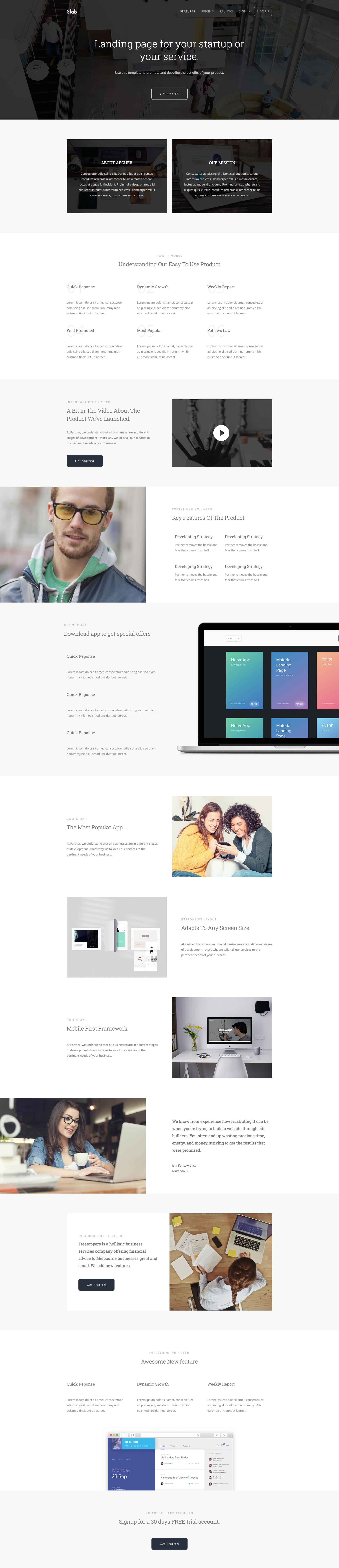 Slab is a minimalist free responsive multipurpose HTML5