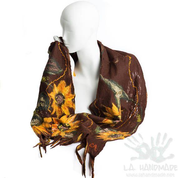 Sunflowers scarf /Nunofelt Scarf / Nuno felt Silk / Eco /