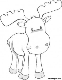 printable coloring page moose for kids