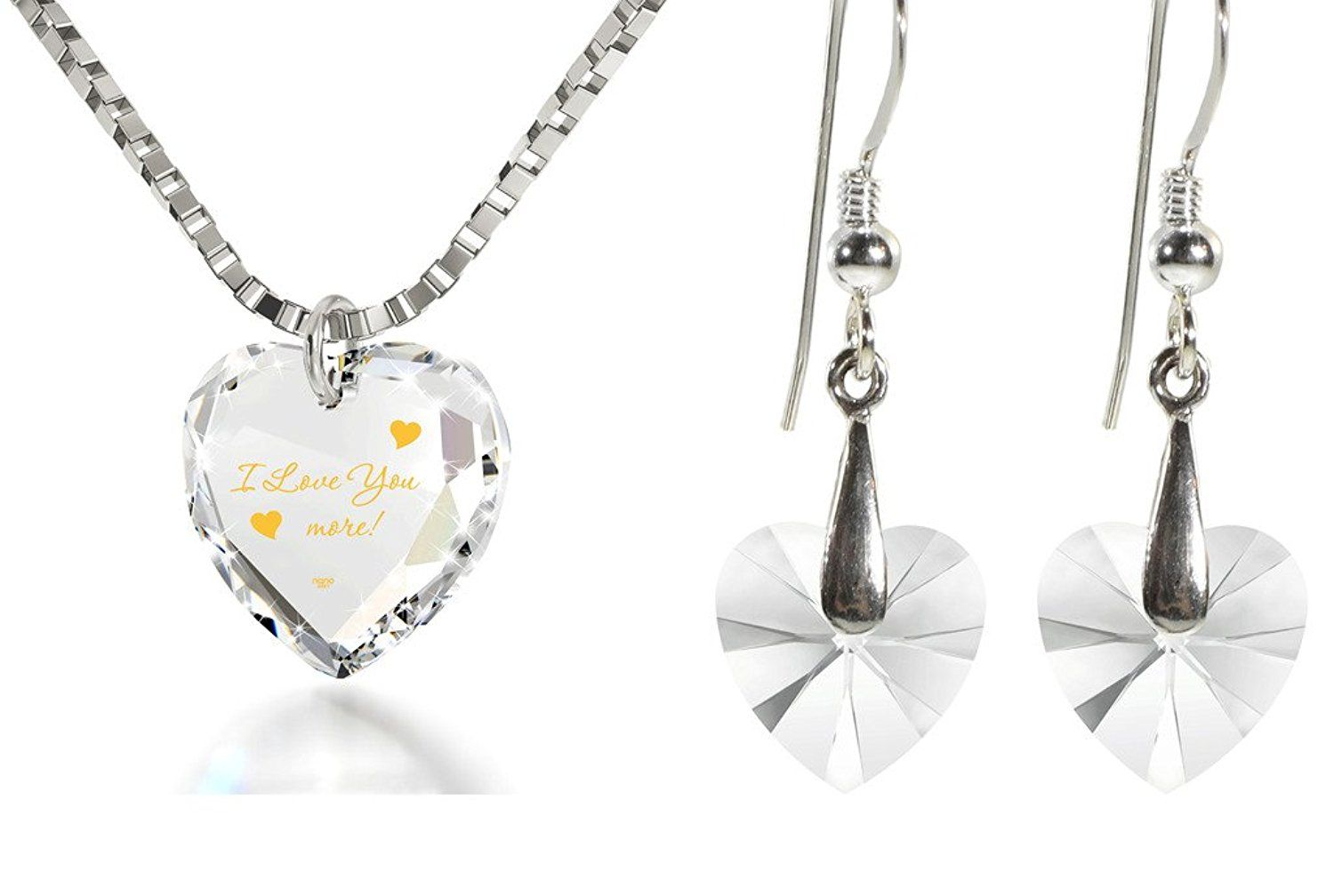 Crystal tiny heart jewelry set k gold inscribed i love you more