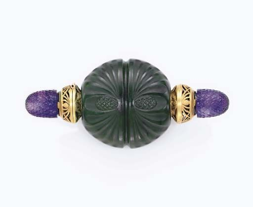 AN ART NOUVEAU NEPHRITE, AMETHYST AND GOLD SCENT BOTTLE, BY BOUCHERON   The circular carved nephrite bottle decorated with pine cone motifs, accented by matte gold chased and openwork terminals, each opening to reveal a nephrite stopper, accented by carved amethyst finials, circa 1900, with French importation marks  Signed Boucheron, Paris