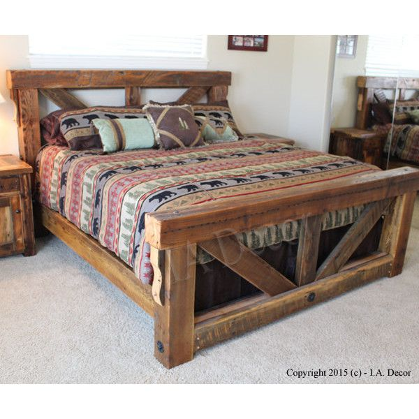 Timber Trestle Bed Rustic Bed Reclaimed and Weathered Wood Bed... (2 ...