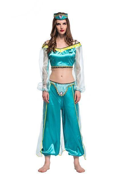 880158e35 Adult Women Kids Princess Jasmine Costume Green Dress Classic Genie ...