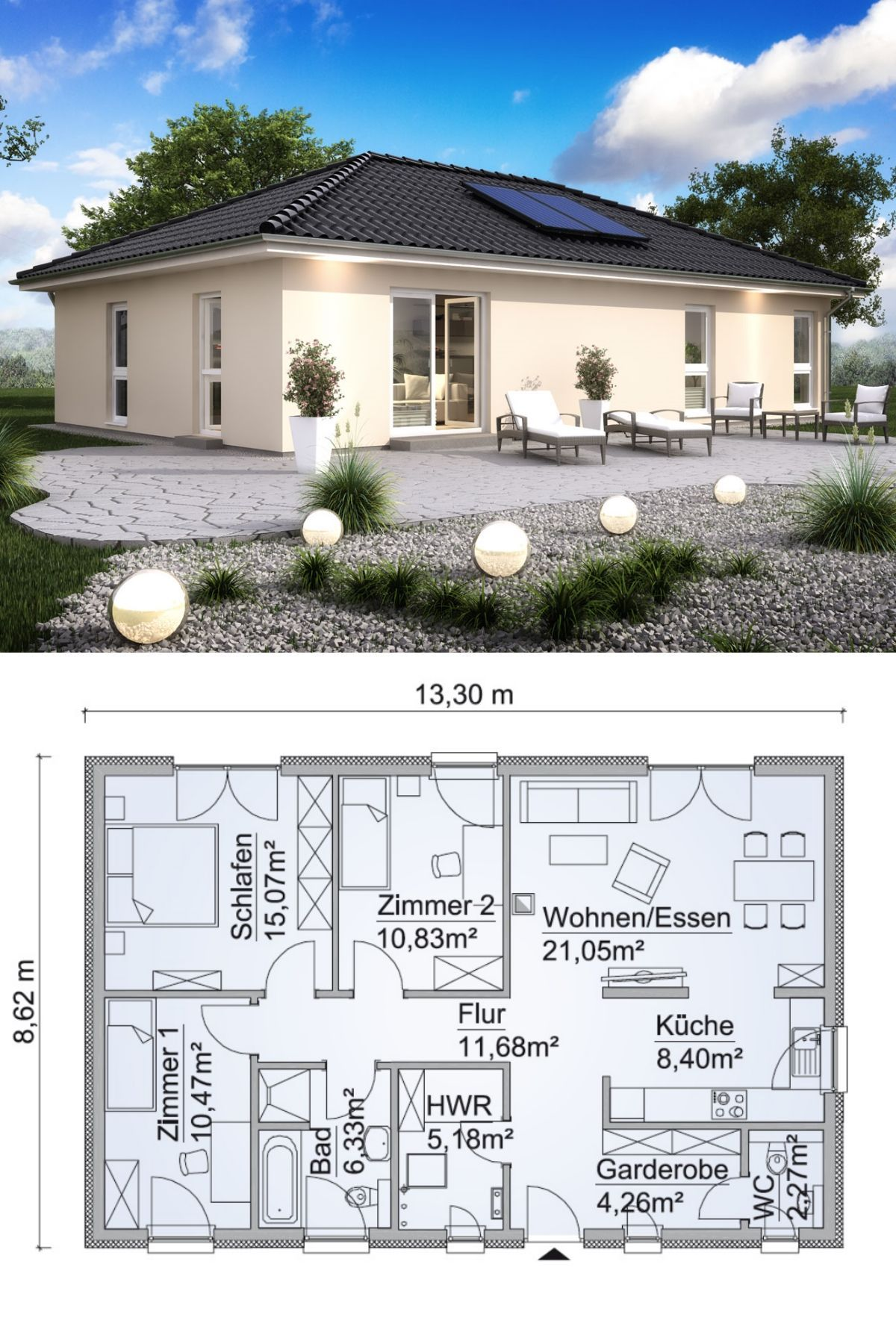 Bungalow one story modern contemporary european styles architecture design house plans bungalow sh 95 b