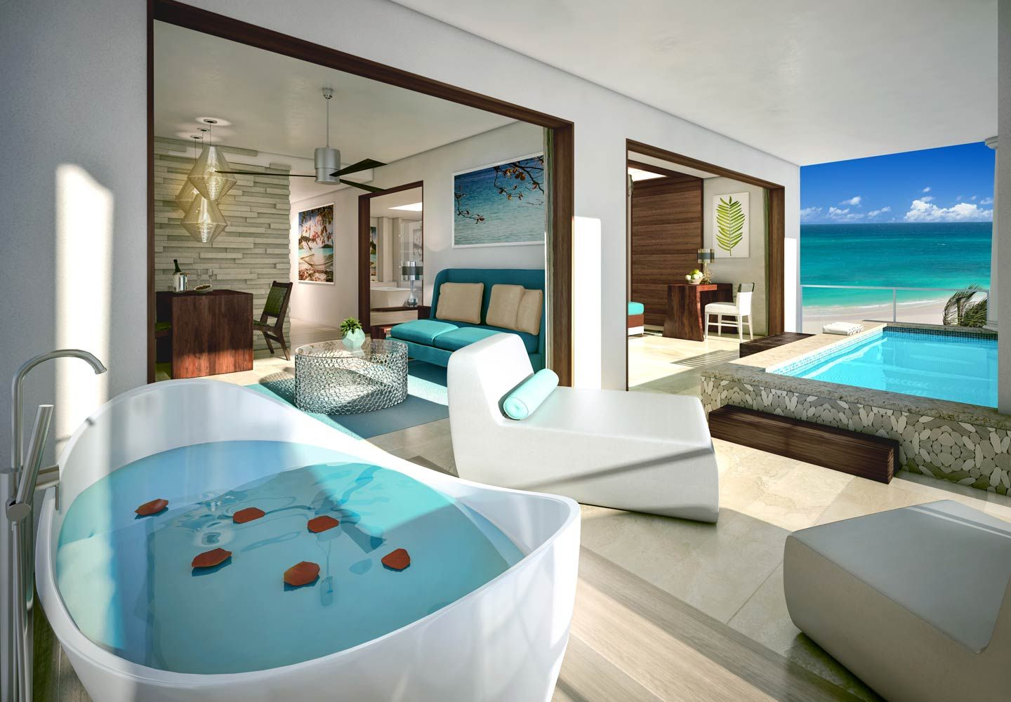 The Beachfront One Bedroom Skypool Butler Suite features a balcony ...