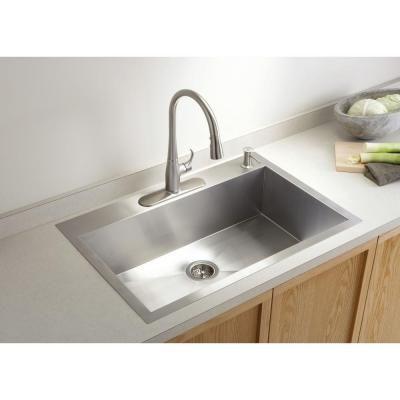 Kohler Vault Dual Mount Stainless Steel 33 In 4 Hole Single Bowl Kitchen Sink With Basin Rack K 3821 4 Na Single Sink Kitchen Stainless Steel Kitchen Sink Drop In Kitchen Sink